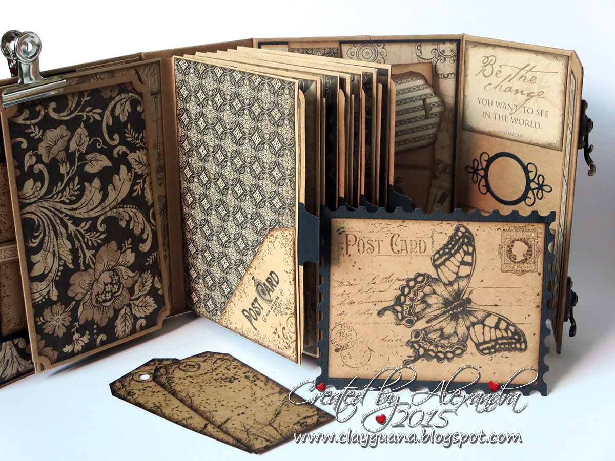 Clayguana graphic 45 craft reflections suitcase vintage - Como hacer un album de fotos ...