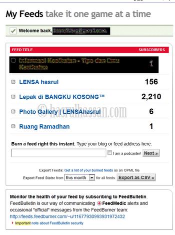 Paparkan Feedcount RSS Pada Blog