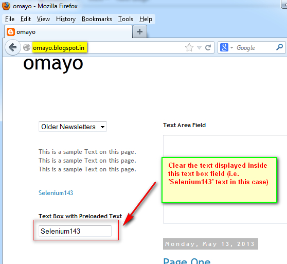 SeleniumTwo (QAFox com): 109  Using clear( ) command to