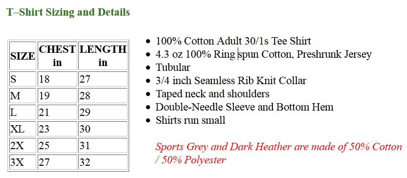 t-shirt size