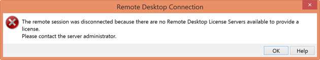 Windows Server 2012 - No Remote Desktop License Servers