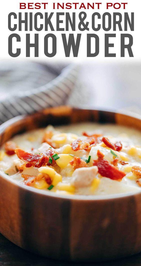 Instant Pot Chicken Potato Corn Chowder With Bacon (Pressure Cooker Recipe)