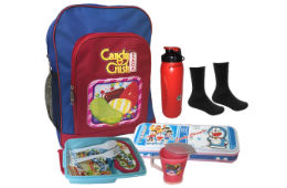 Bagther School Bag Combo Pencil Box Tiffin Bottle Cup Socks For Rs 349 at Shopclues