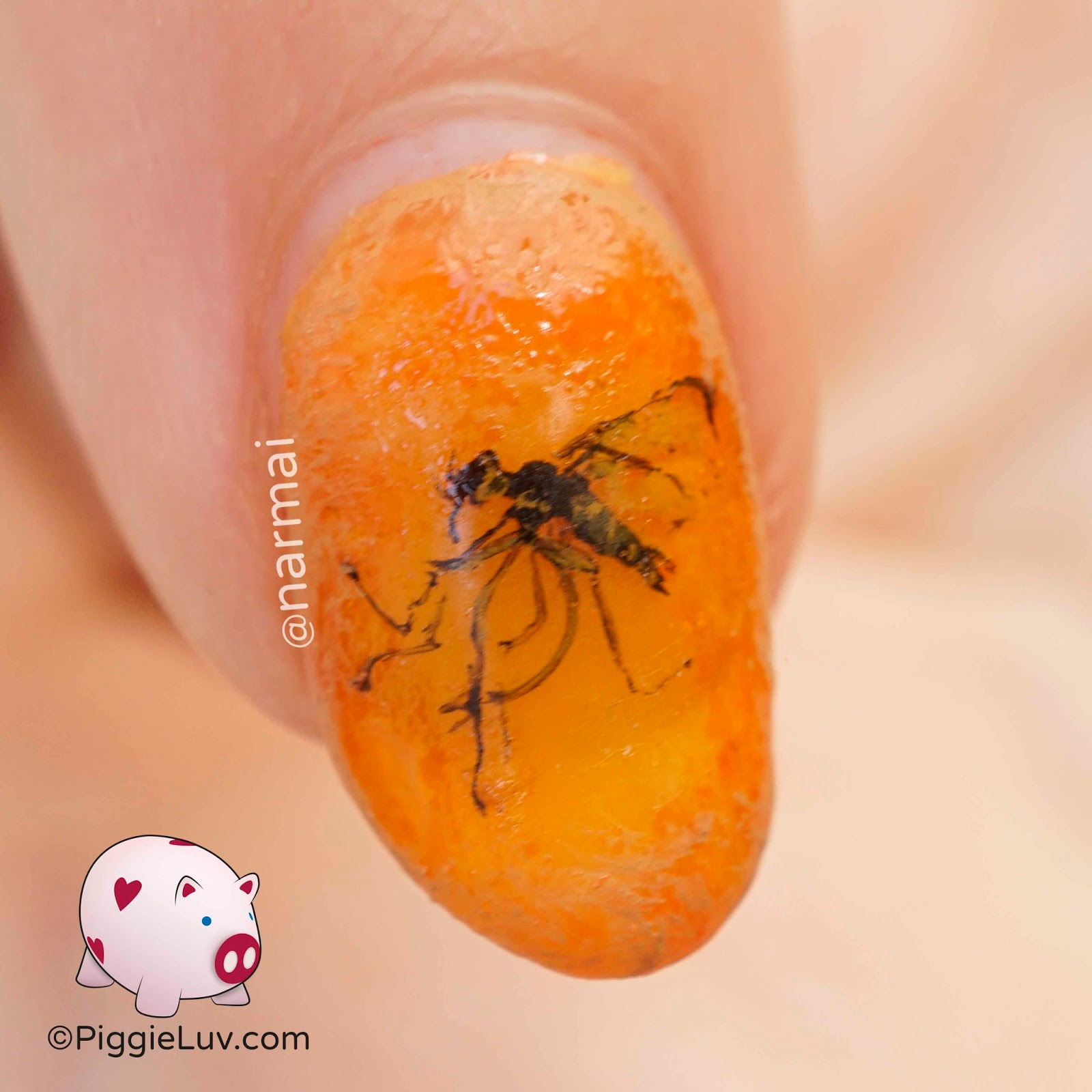 Piggieluv Insects In Amber Nail Art