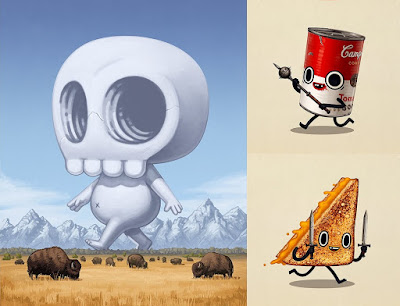 "Mike Mitchell's MondoCon 2016 Exclusive Prints - Skully ""October, 1829"" & Food Dudes ""Two-handed Mace"" and ""Short Sword"""