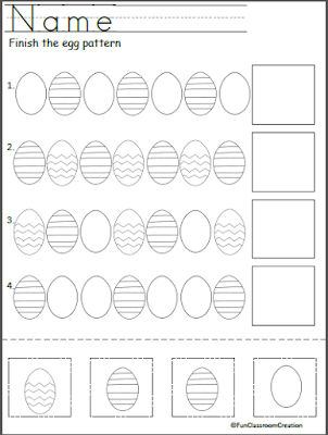 Kindergarten Easter Egg Pattern Practice