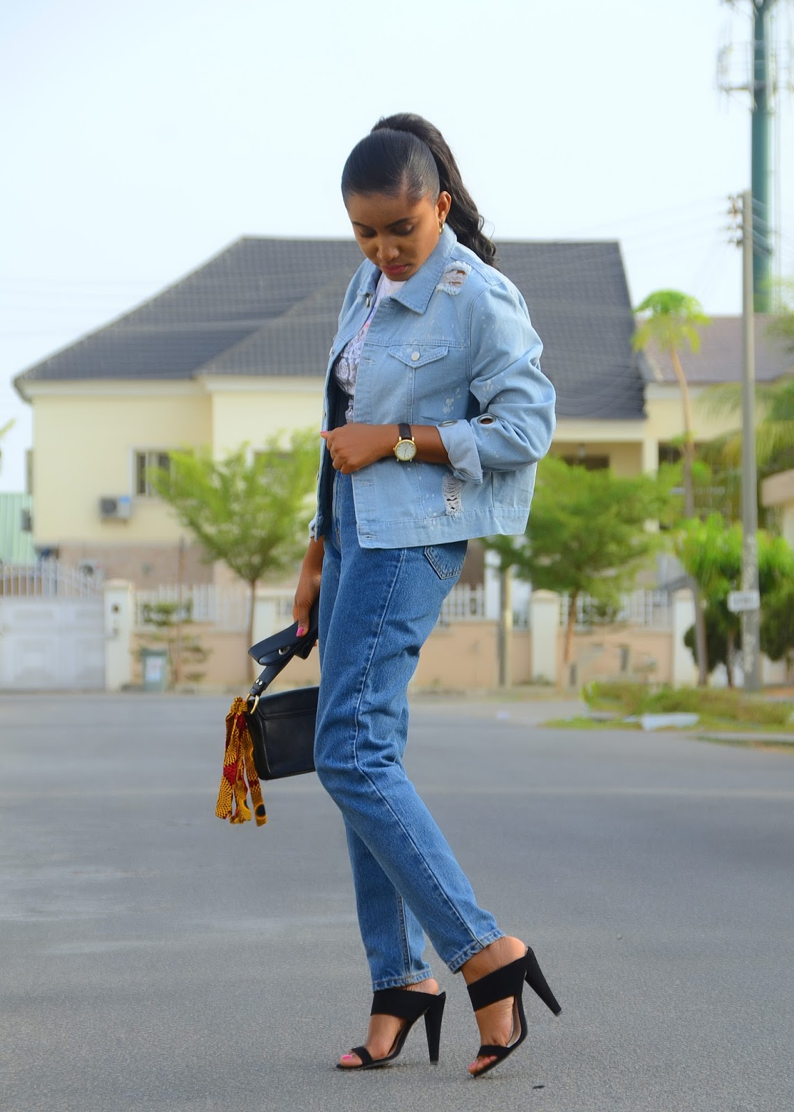 mom jeans, denim jacket,mules