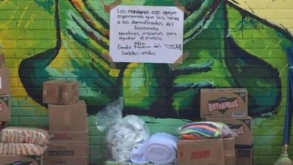 Cartel del Golfo envió toneladas de ayuda a damnificados por terremoto.