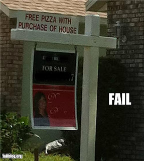 free pizza with purchase of house sign