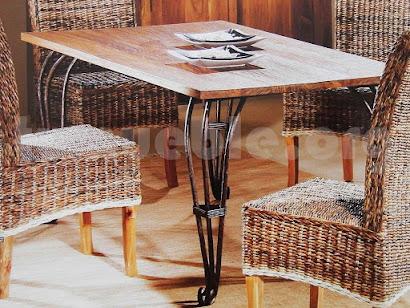 mesa comedor hecho en teca y forja 4000
