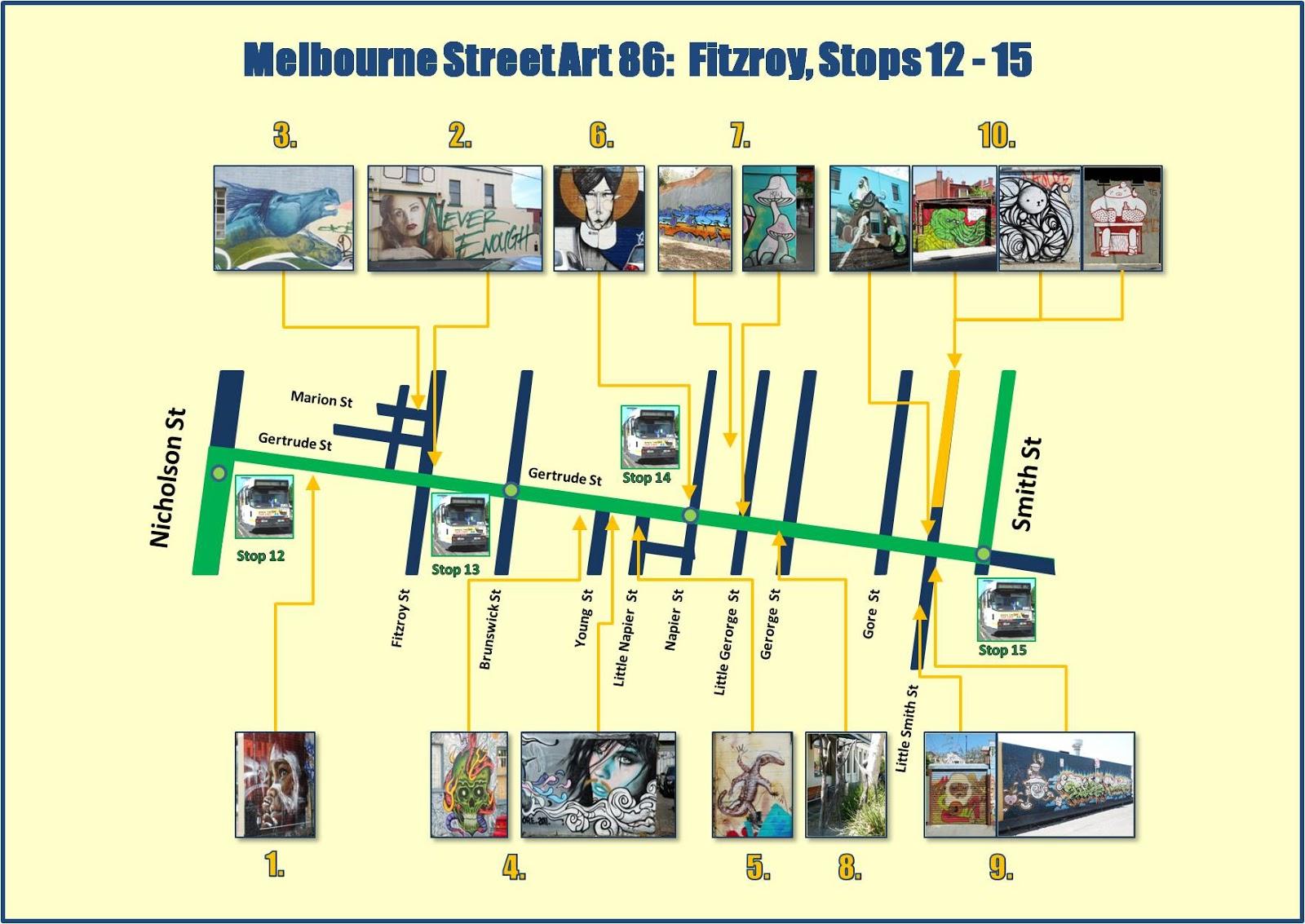 Melbourne Street Art Map Melbourne Street Art 86: FITZROY   Gertrude St Melbourne Street Art Map