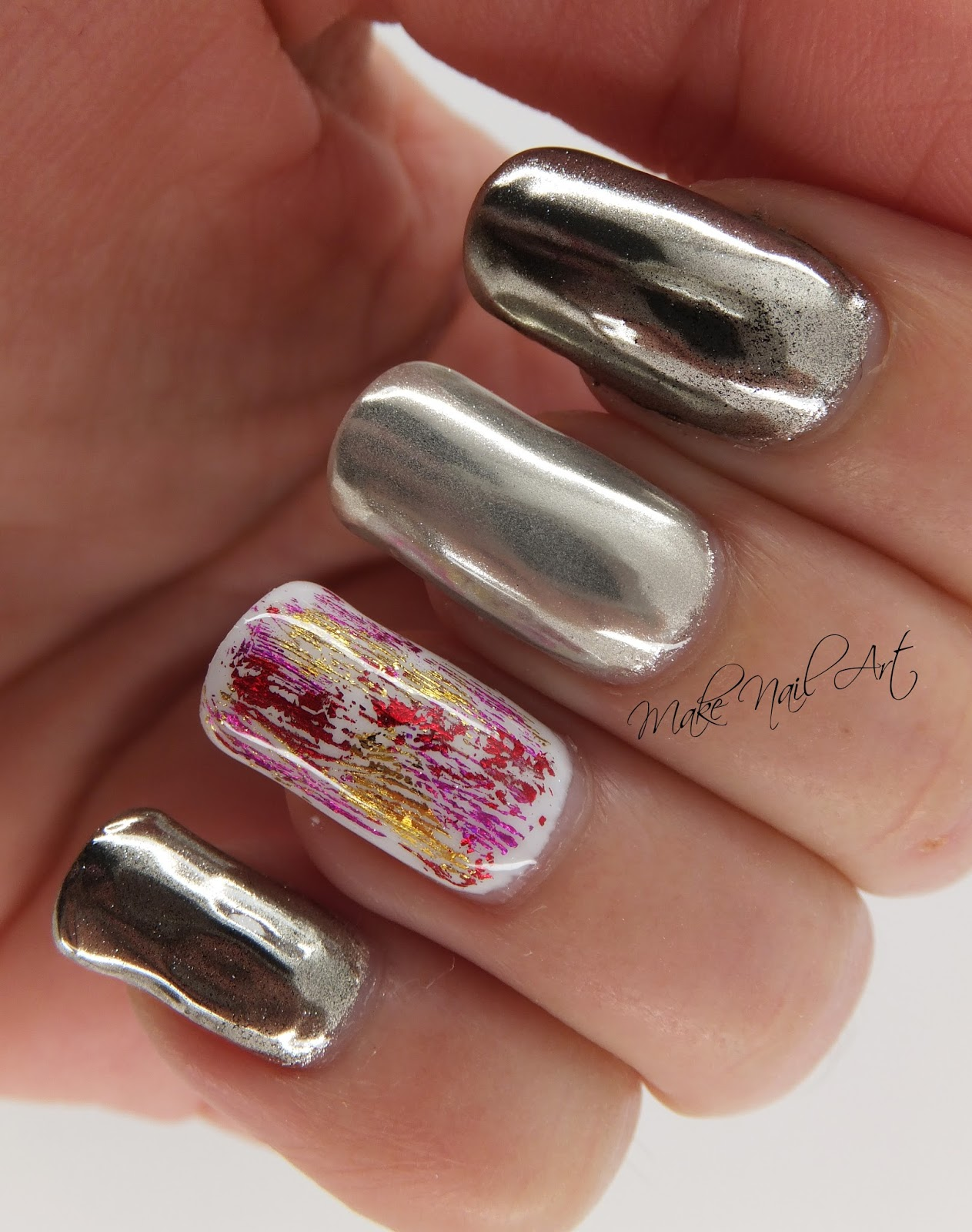 Mirror Powder And Foil Gel Polish Nails Nail Art Design Tutorial