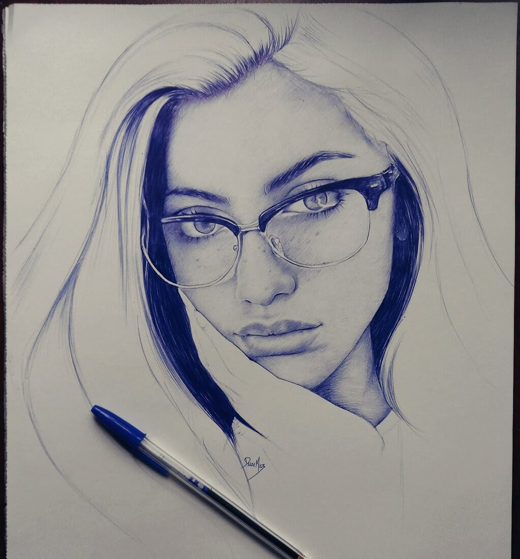 13-Duae-Maz-Blue-and-Black-Ballpoint-Pen-Portraits-www-designstack-co