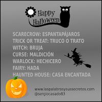 Vocabulario de terror en inglés para Halloween, Halloween, Inglés terror, vocabulario inglés halloween, aprender inglés