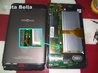 Tablet android advan tidak bisa di charger karena baterai kosong