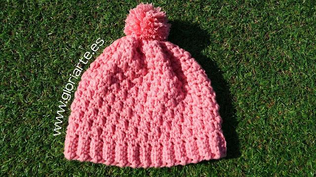 gorro rosa de crochet