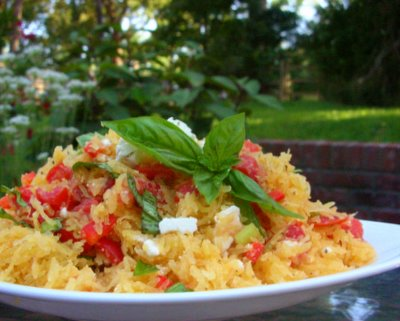 Spaghetti Squash Salad with Tomato, Basil & Feta ♥ AVeggieVenture.com, the squash is cooked in the microwave! Fresh & Summery. Low Carb. Weight Watchers Friendly.