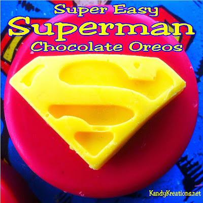 Easily make these chocolate covered oreos into fun Superman cookies for your next party.  With only a few ingredients and cool molds, you can be Super Mom faster than a speeding bullet.