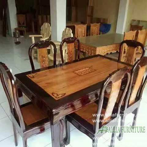kursi meja makan set jati ukiran bonsai