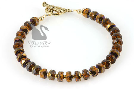 Autumn Glam Czech Bronzed Fall Beaded Crystal Allure Bracelet (B155) | Crystal Allure Beaded Jewelry Creations