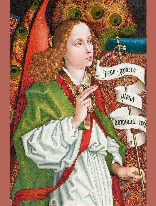 Schongauer Annunciation angel CC1182 Orlier altar Postcard