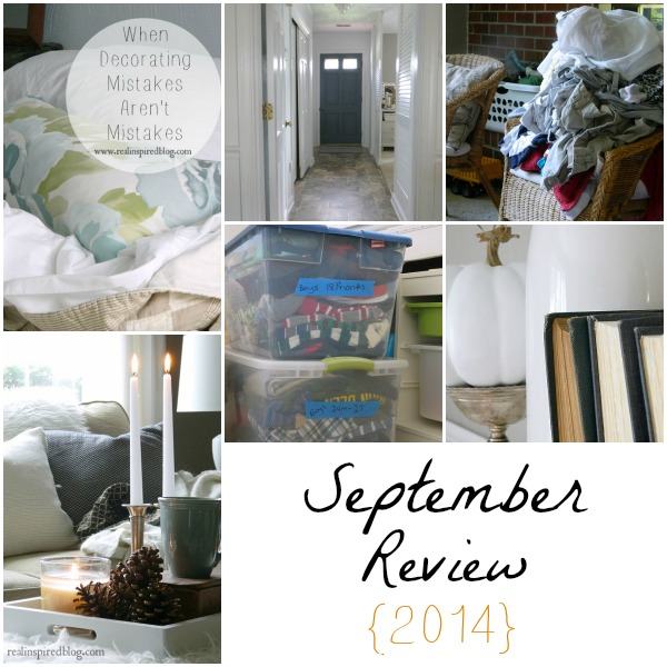 September Review 2014: painted door, fall decor how-to, fall mantel, decorating mistakes, kid clothes storage