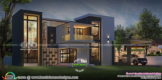 beautiful night view of box model contemporary house arhitecture