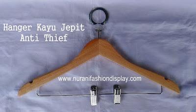 Hanger Kayu Jepit  Ring Anti Thief Anti pencuri