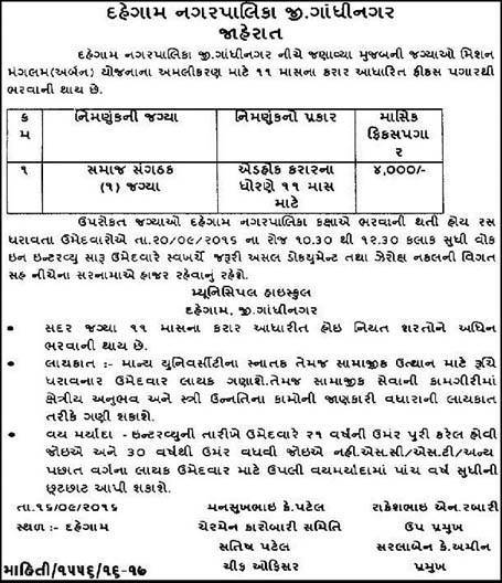 Dahegam Nagarpalika Recruitment for Community Organizer Posts 2016