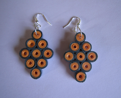 honey comb model tear drop earrings for kids - Quillingpaperdesigns