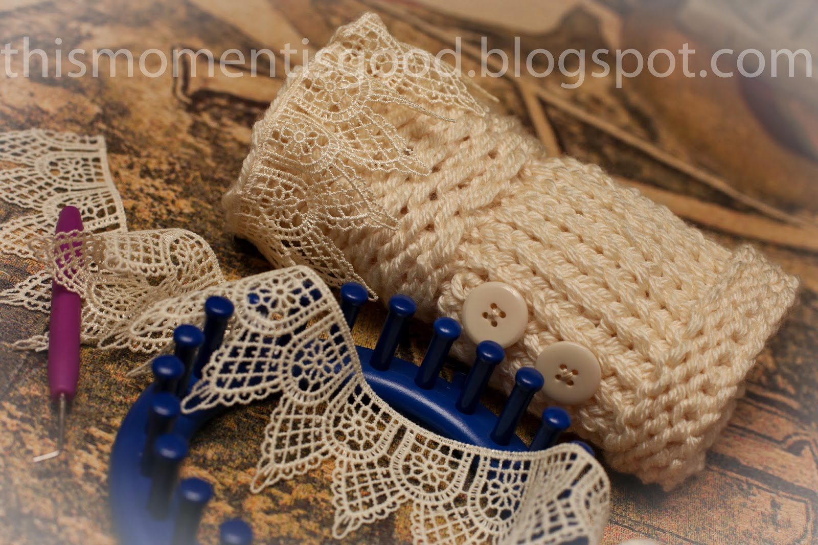 LOOM KNIT WRIST WARMERS | Loom Knitting by This Moment is Good!