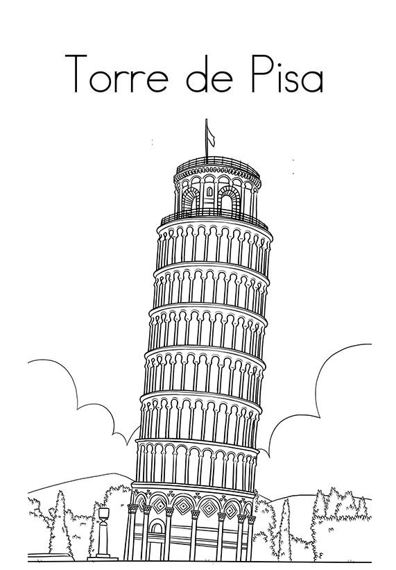 Blog De Geografia Torre De Pisa Desenho Para Imprimir E Colorir
