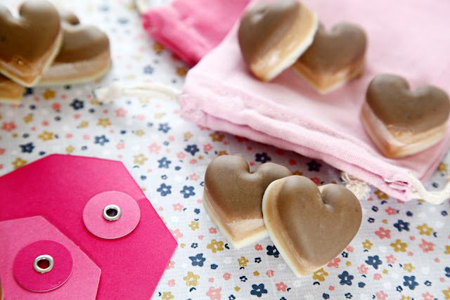 "Heart shaped Valentine's Day dog ""chocolate"" treats with pink gift tags and drawstring bag"
