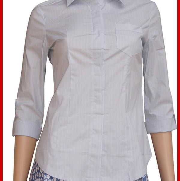 ADR138 Kemeja Wanita Blue Salur Soft Import BMGShop