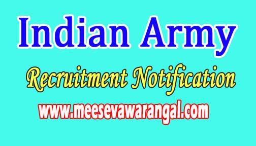 Indian Army Recruitment Notification 2016