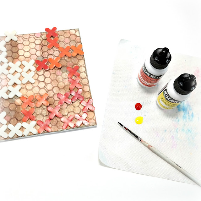 How to Paint Rubber Tile Spacers with Orange and Yellow ColorBox Color Eclipse Mixed Media Ink to Layer on a Mixed Media Canvas