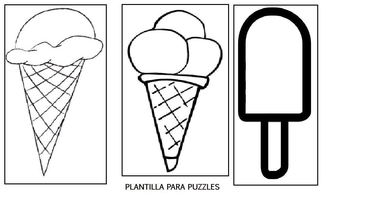 Manualidad, decoremos la clase con helados y puzzles de helados.