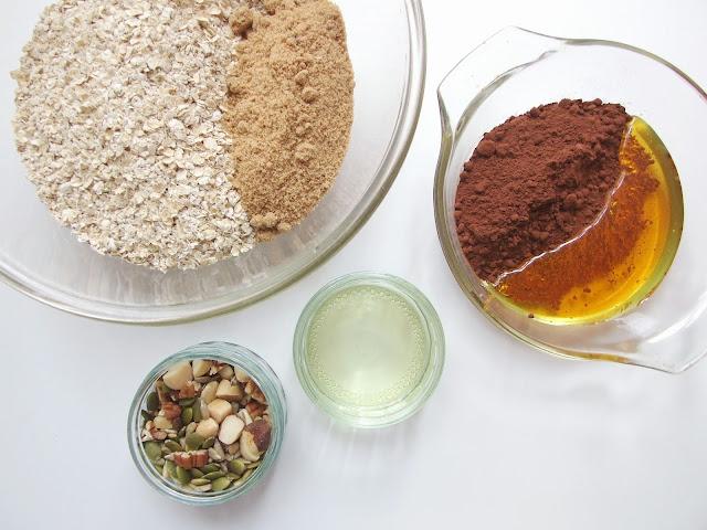 Crunchy Chocolate Granola Ingredients - Gathering Beauty