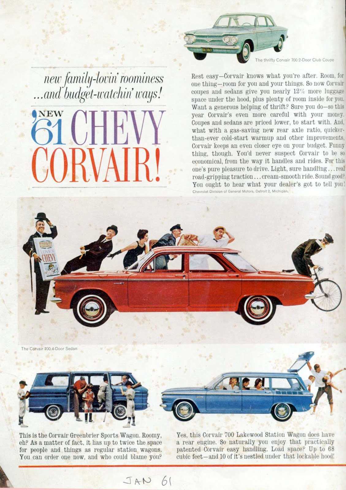 4335bc133a93c Labels: 1961, car advertising, Chevrolet Corvair, delivery boy, fuel  economy, peer admiration, roominess, sandwich man, tableau, white background