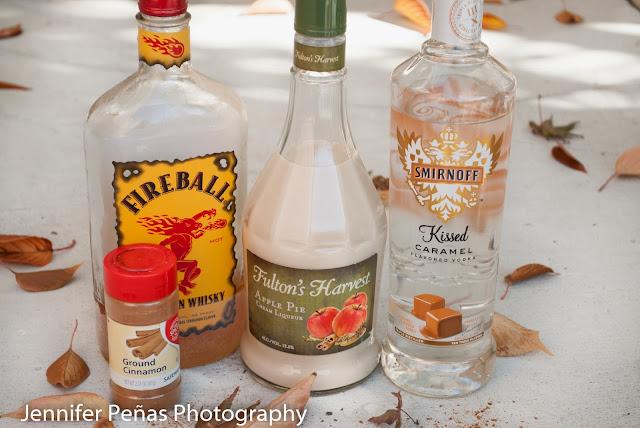 caramel apple pie cocktail, caramel vodka, apple pie liqueur, fireball whisky, cinnamon whisky