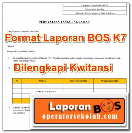 Format Laporan BOS K7 Dilengkapi Kwitansi