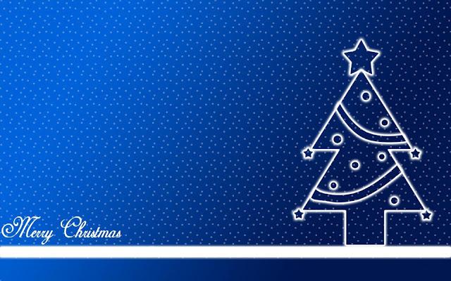 Blauwe kerst bureaublad achtergrond