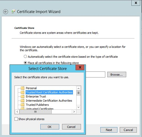 Select Trusted Root Certification Authorities