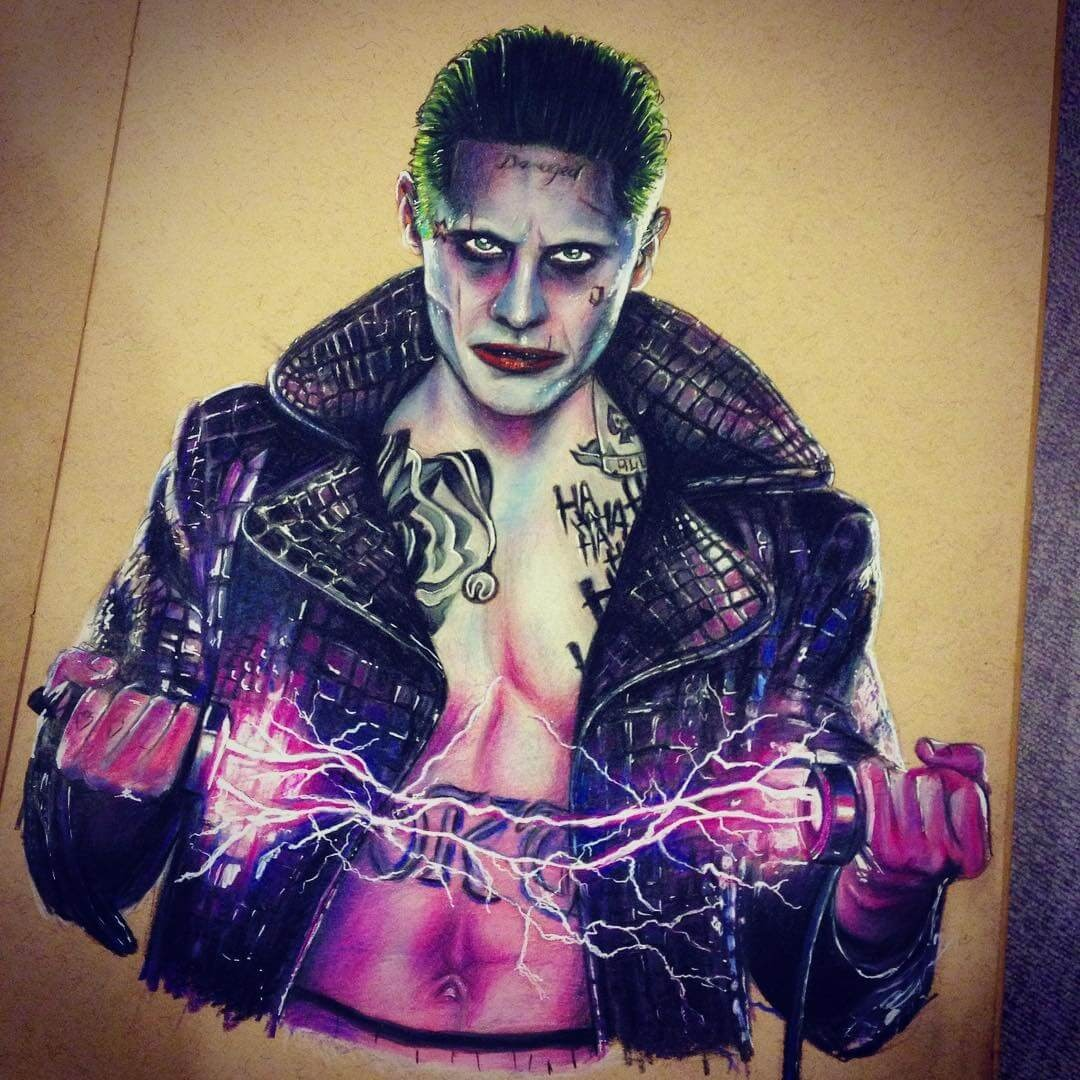 08-The-Joker-Jared-Leto-from-Suicide-Squad-Chris-Superhero-and-Villain-Realistic-Pencil-Drawings-www-designstack-co