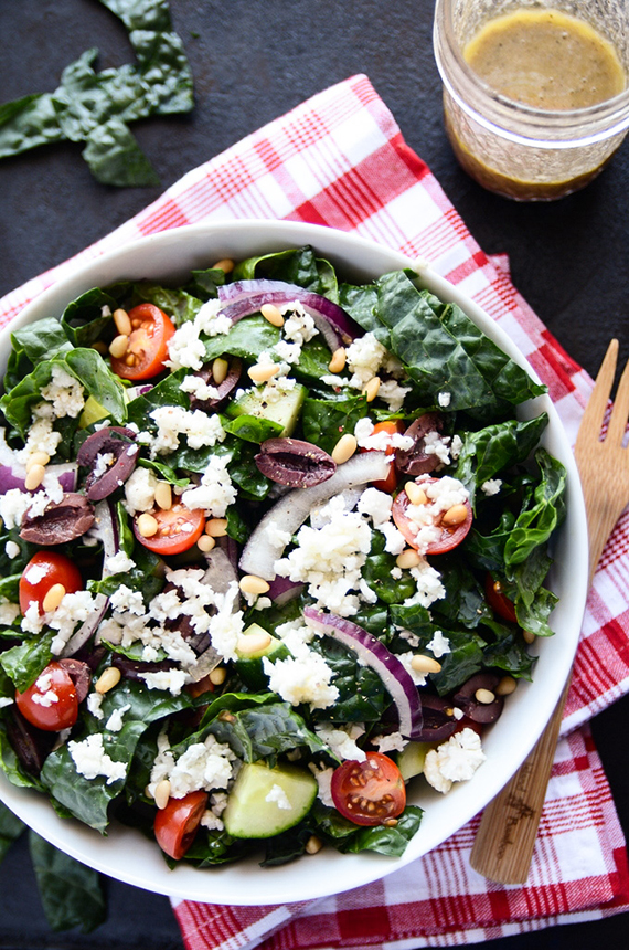 Detoxifying greek salad with kale and cauliflower 'feta' recipe by Blissful Basil