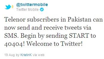 Twitter adds Telenor Pakistan to its SMS Service   Pakistan