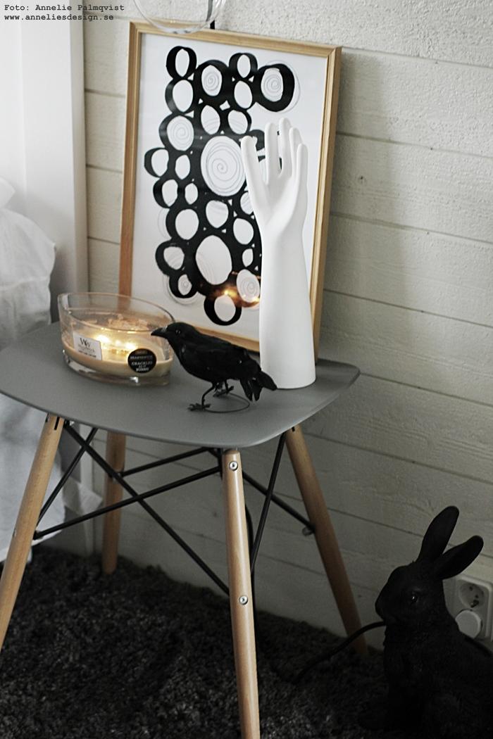 annelies design, webbutik, webshop, nätbutik, plakat, plakater, poster, posters, print, prints, konsttryck, cirklar, cirkel, svartvit, svartvita, svart och vitt, inredning, sovrum, sovrummet, dekoration, stilleben, pall, sängbord, sovrum, sovrummet, heltäckningsmatta, matta, mattor, vit panel, liggande panel, kanin, kaniner, kråka, woodwick, doftljus, ljus, sprakande veke,