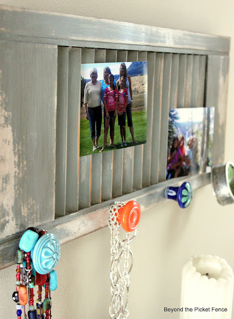 Repurpose and old shutter into a photo display