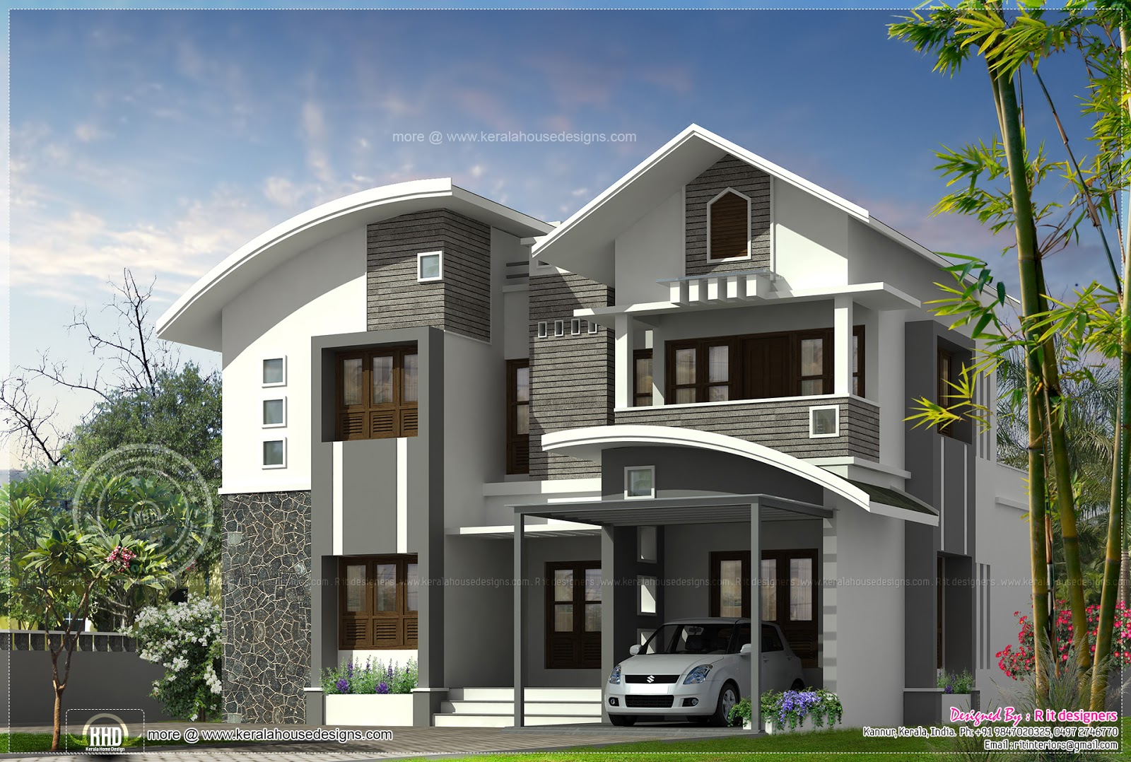 Beautiful villa in 250 square yards kerala home design for Square house design