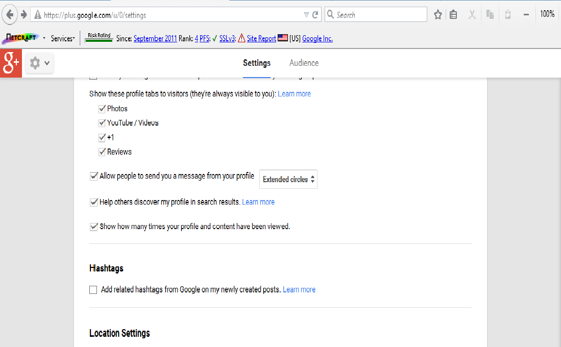 Manage google+ profile tabs visible to profile visitors